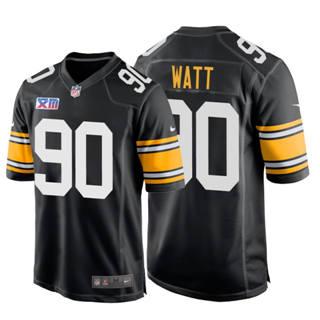Men's Steelers #90 T.J. Watt Super Bowl XIII 1978 Retro Game Football Jersey Black