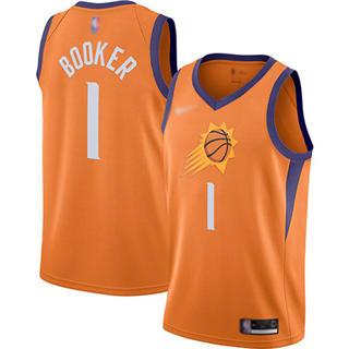 Men's Suns #1 Devin Booker Orange Basketball Swingman Statement Edition 2019-2020 Jersey