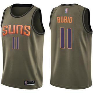 Men's Suns #11 Ricky Rubio Green Basketball Swingman Salute to Service Jersey