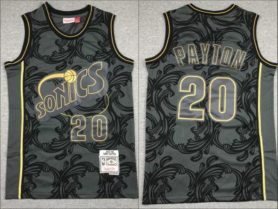 Men's Super Sonics #20 Gary Payton Black 1995-96 Hardwood Classics Swingman Jersey