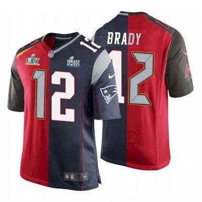 Men's Tampa Bay Buccaneers #12 Tom Brady Red Navy Super Bowl Split GOAT Stitched Football Jersey