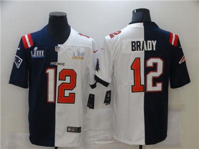 Men's Tampa Bay Buccaneers #12 Tom Brady White Navy Super Bowl Split GOAT Stitched Football Jersey