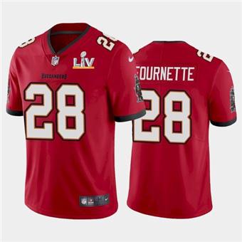 Men's Tampa Bay Buccaneers #28 Leonard Fournette Red 2021 Super Bowl LV Limited Stitched Football Jersey