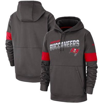 Men's Tampa Bay Buccaneers Sideline Team Logo Performance Pullover Hoodie - Pewter