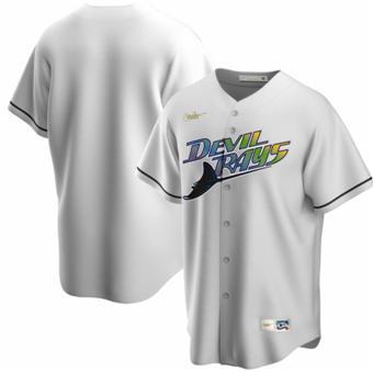 Men's Tampa Bay Devil Rays White Cooperstown Baseball Jersey