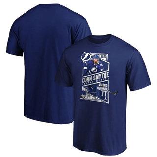 Men's Tampa Bay Lightning #77 Victor Hedman 2020 Stanley Cup Champions Conn Smythe Trophy Winner T-Shirt Blue