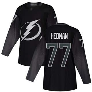 Men's Tampa Bay Lightning #77 Victor Hedman Black Alternate  Stitched Hockey Jersey
