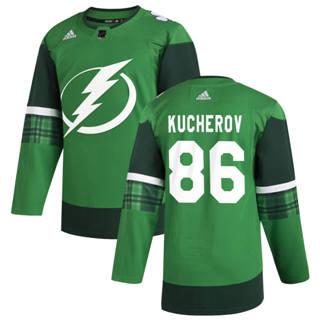 Men's Tampa Bay Lightning #86 Nikita Kucherov 2020 St. Patrick's Day Stitched Hockey Jersey Green