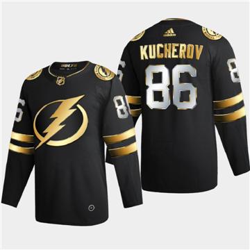 Men's Tampa Bay Lightning #86 Nikita Kucherov Black Golden Edition Limited Stitched Hockey Jersey