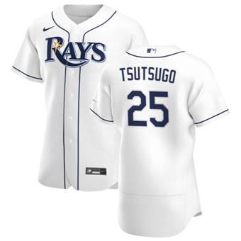 Men's Tampa Bay Rays #25 Yoshi Tsutsugo White Home 2020 Authentic Player Baseball Jersey