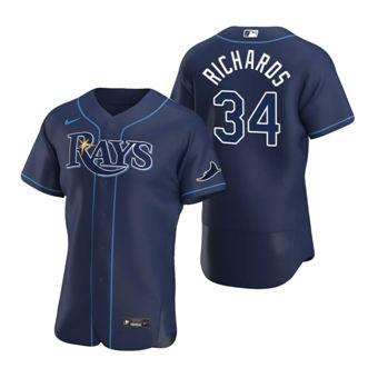 Men's Tampa Bay Rays #34 Trevor Richards Navy Alternate 2020 Authentic Team Baseball Jersey