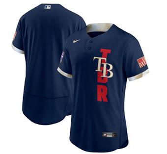 Men's Tampa Bay Rays Blank 2021 Navy All-Star Flex Base Stitched Baseball Jersey