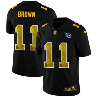 Men's Tennessee Titans #11 A.J. Brown Black Golden Sequin Vapor Limited Football Jersey