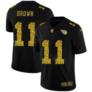 Men's Tennessee Titans #11 A.J. Brown Black Leopard Print Fashion Vapor Limited Football Jersey