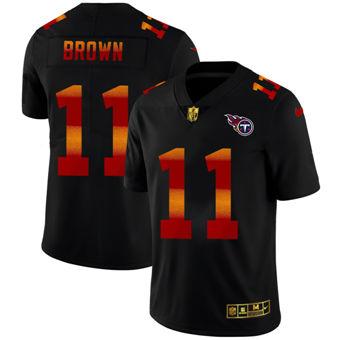 Men's Tennessee Titans #11 A.J. Brown Black Red Orange Stripe Vapor Limited Football Jersey