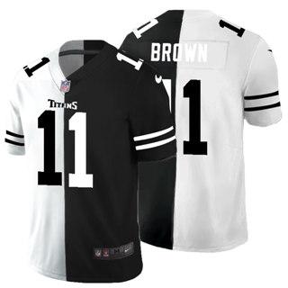 Men's Tennessee Titans #11 A.J. Brown Black V White Peace Split Vapor Untouchable Limited Football Jersey