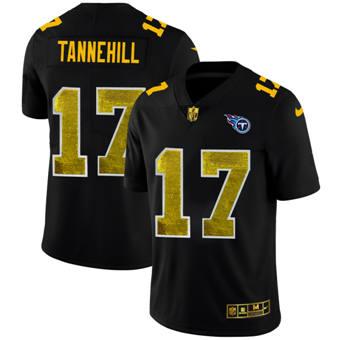 Men's Tennessee Titans #17 Ryan Tannehill Black Golden Sequin Vapor Limited Football Jersey