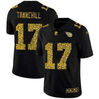 Men's Tennessee Titans #17 Ryan Tannehill Black Leopard Print Fashion Vapor Limited Football Jersey