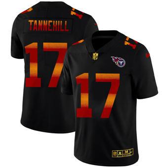 Men's Tennessee Titans #17 Ryan Tannehill Black Red Orange Stripe Vapor Limited Football Jersey
