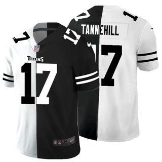 Men's Tennessee Titans #17 Ryan Tannehill Black V White Peace Split Vapor Untouchable Limited Football Jersey
