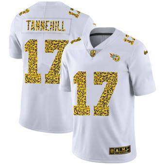 Men's Tennessee Titans #17 Ryan Tannehill Flocked Leopard Print Vapor Limited Football Jersey White
