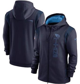 Men's Tennessee Titans 2021 Navy Sideline Team Performance Full-Zip Hoodie