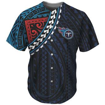 Men's Tennessee Titans Navy Baseball Jersey