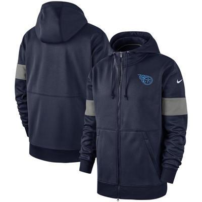Men's Tennessee Titans Sideline Performance Full-Zip Pullover Hoodie - Navy