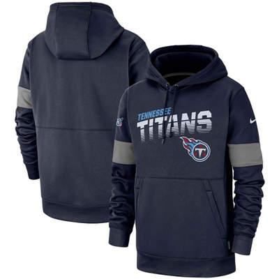 Men's Tennessee Titans Sideline Team Logo Performance Pullover Hoodie - Navy