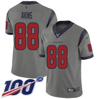 Men's Texans #88 Jordan Akins Gray Stitched Football Limited Inverted Legend 100th Season Jersey
