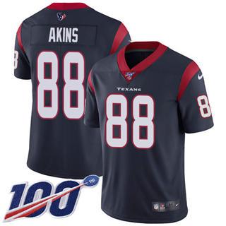 Men's Texans #88 Jordan Akins Navy Blue Team Color Stitched Football 100th Season Vapor Untouchable Limited Jersey