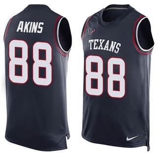 Men's Texans #88 Jordan Akins Navy Blue Team Color Stitched Football Limited Tank Top Jersey
