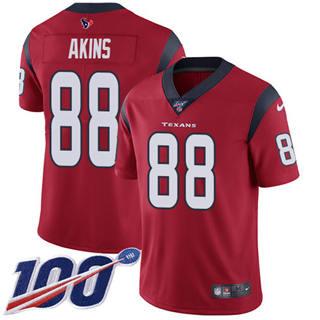 Men's Texans #88 Jordan Akins Red Alternate Stitched Football 100th Season Vapor Untouchable Limited Jersey