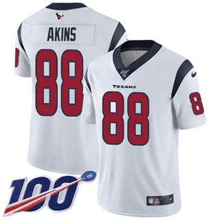 Men's Texans #88 Jordan Akins White Stitched Football 100th Season Vapor Untouchable Limited Jersey