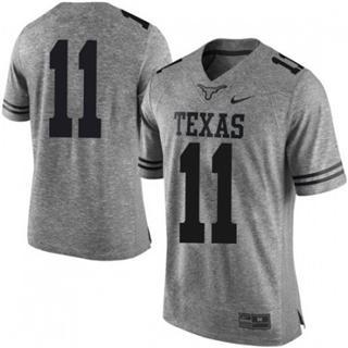 Men's Texas Longhorns #11 Sam Ehlinger Jersey Gray NCAA