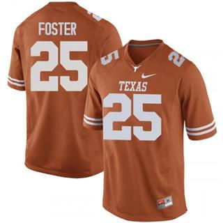 Men's Texas Longhorns #25 B.J. Foster Jersey Orange NCAA
