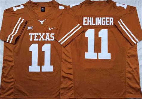 Men's Texas Longhorns Orange #11 EHLINGER Stitched College Football Jersey