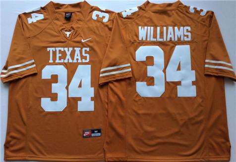 Men's Texas Longhorns Orange #34 WILLIAMS Stitched College Football Jersey