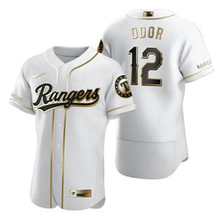 Men's Texas Rangers #12 Rougned Odor White 2020 Authentic Golden Edition Baseball Jersey