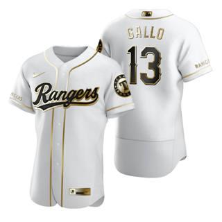 Men's Texas Rangers #13 Joey Gallo White 2020 Authentic Golden Edition Baseball Jersey