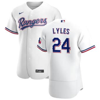 Men's Texas Rangers #24 Jordan Lyles White Home 2020 Authentic Player Baseball Jersey