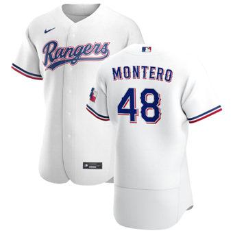 Men's Texas Rangers #48 Rafael Montero White Home 2020 Authentic Player Baseball Jersey