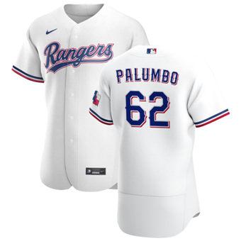 Men's Texas Rangers #62 Joe Palumbo White Home 2020 Authentic Player Baseball Jersey