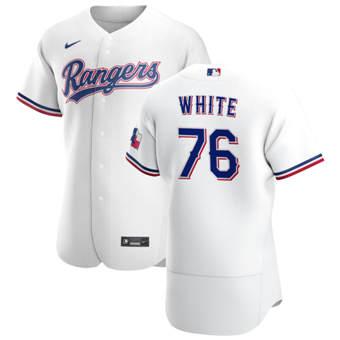 Men's Texas Rangers #76 Eli White White Home 2020 Authentic Player Baseball Jersey