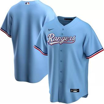 Men's Texas Rangers Blank Light Blue Stitched Baseball Jersey
