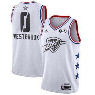 Men's Thunder #0 Russell Westbrook White Basketball Jordan Swingman 2019 All-Star Game Jersey