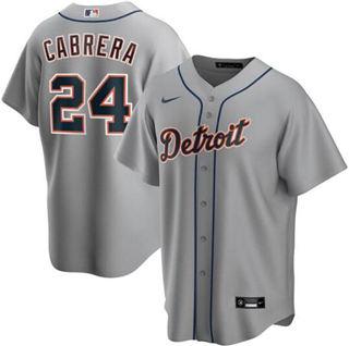 Men's Tigers #24 Miguel Cabrera Gray 2020 Baseball Cool Base Jersey