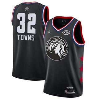 Men's Timberwolves #32 Karl-Anthony Towns Black Basketball Jordan Swingman 2019 All-Star Game Jersey