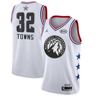 Men's Timberwolves #32 Karl-Anthony Towns White Basketball Jordan Swingman 2019 All-Star Game Jersey
