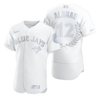 Men's Toronto Blue Jays #12 Roberto Alomar Platinum Baseball MVP Limited Player Edition Jersey